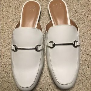WHITE MULES. SIZE 10
